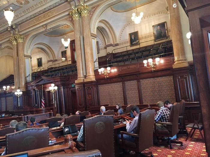 Senate chambers testing out the senators chairs