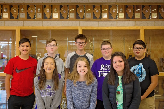 Junior High Band & Chorus: (front row l-r) Isabelle Hensley, Eadie Budd and Fatima Cabrera; (back l-r) Andy Castro, Aden York, Reynol Oyervides, Jake Myers and Aaron Gaona.