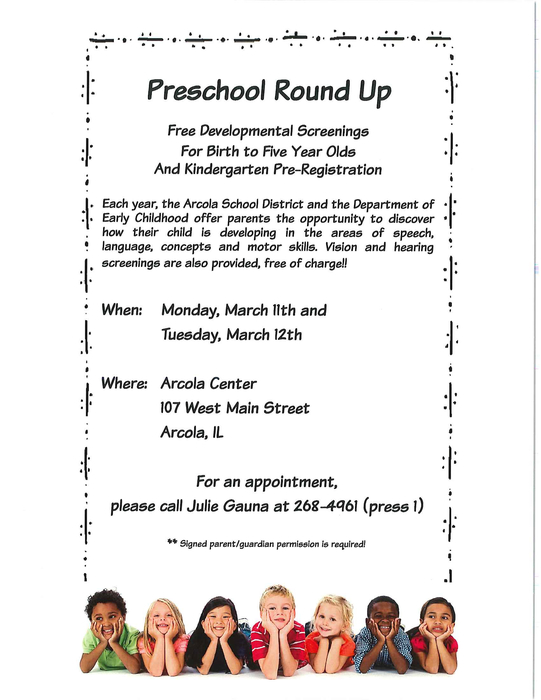 PreK Round Up Information - English