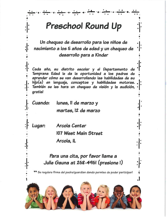PreK Round Up Information - Spanish