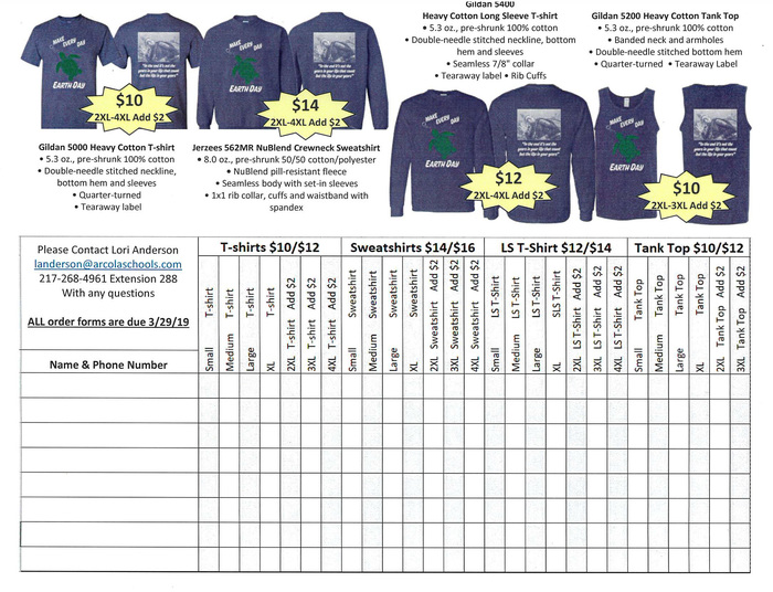 Earth Day Shirt Order Form