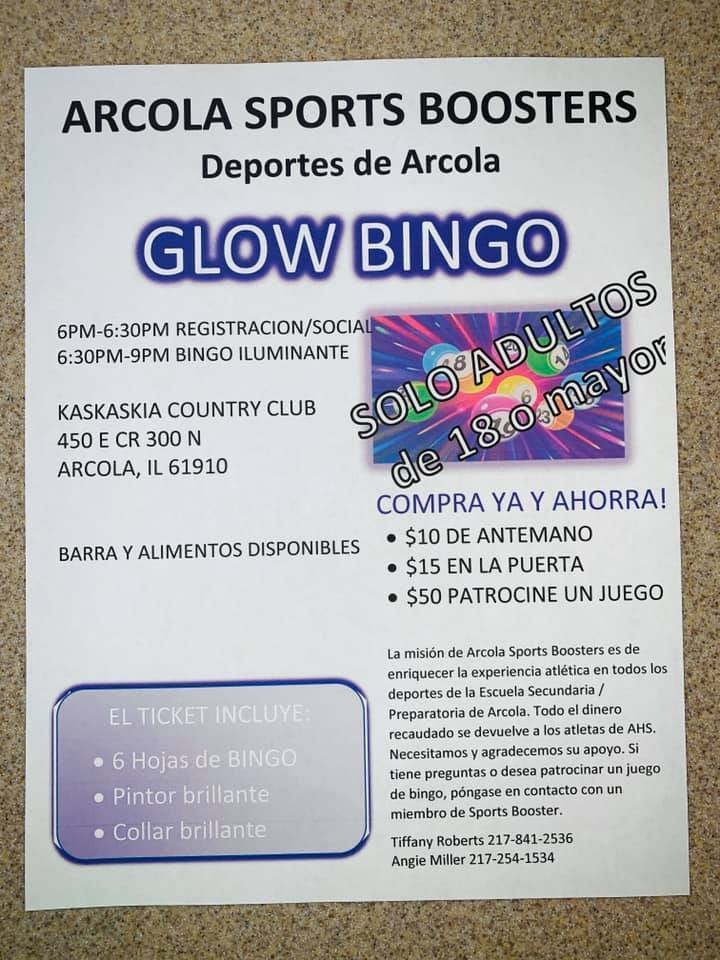 Arcola Sports Booster Glow Bingo Flyer - Spanish