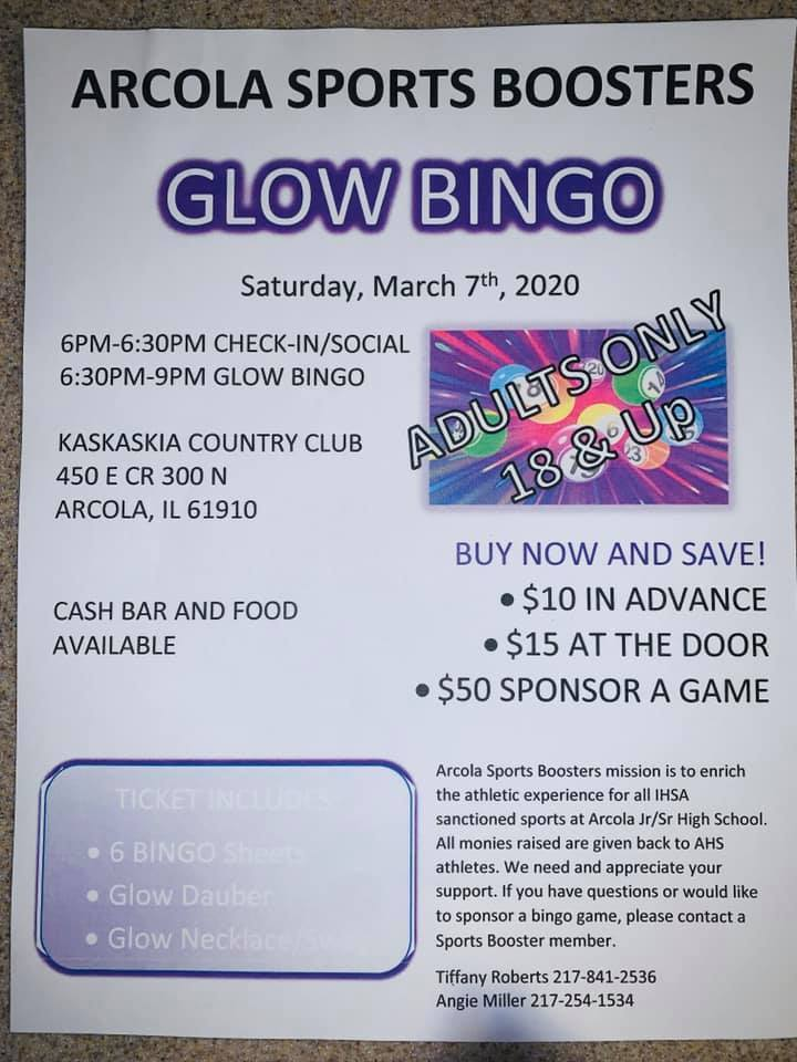 Arcola Sports Booster Glow Bingo Flyer