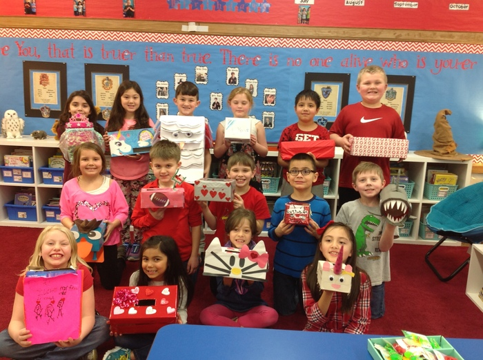 Valentine's Boxes in Mrs. Butler's class.